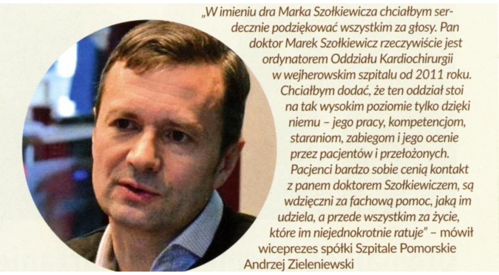 Dr med. Marek Szołkiewicz wśród najpopularniejszych Pomorzan 2018 roku